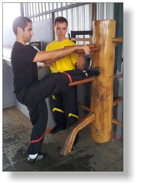 Training der Mok Yan Chong Fat-Holzpuppenform