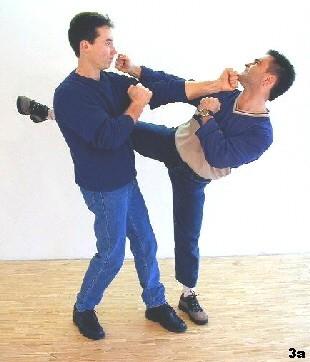 Wir folgen dem Wing Tsun Motto: gegen Treten Kopf schlagen!