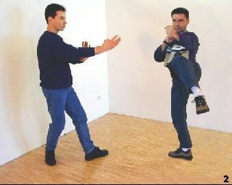 Sifu Dragos stört das Timing seines Gegners, indem er dem Angreifer im selben Moment mittels Zwischenschritt entgegenkommt.