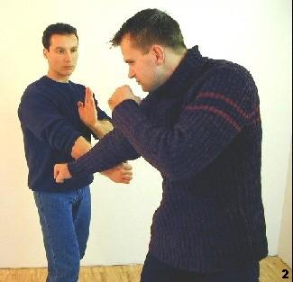 Schlagablenkung (einfache Version) -  Sifu Dragos lenkt den Schlag des Gegners durch einen tiefen Gegenschlag ins Leere