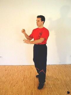Bild 2 - Sifu verlagert das Gewicht auf sein rechtes Bein, führt eine Drehung  und lässt den linken Ellbogen sinken.