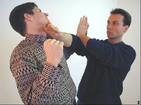 Sifu verdrängt den Schalg des Gegners mit Hilfe des hohen Pak-Sao und dem gleichzeitigen Fak-Sao