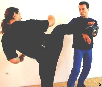 Mit Hilfe der Kwan-Sao-Bewegung kann Sifu Dragos seinen Rumpf schützen. Die Kraft des Trittes verteilt sich auf beide Arme, wodurch Verletzungen minimiert werden.