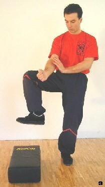 Sifu hebt sein Bein - Einleitung der Stampftrittbewegung