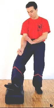 Sifu Dragos führt den Stampftritt aus. Hierbei nutzt er durch Absenken des Standbeines anteilig sein Körpergewicht. Zusätzlich wird die Ferse Richtung Ziel bewegt (Fuß richtet sich auf).