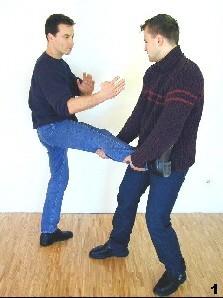 Sifus Gegner hält dessen Bein in Höhe der Kniekehle