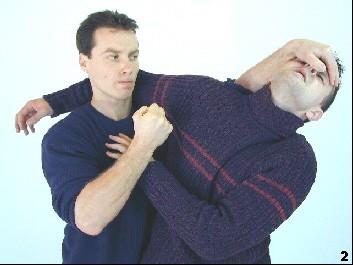 Sifu drückt die Nase  seines Gegners zurück. Schmerzbedingt verändert dieser seine Haltung.