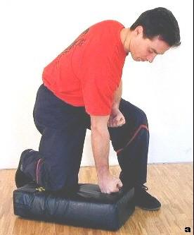 Beim Üben dieser Technik lassen wir unser Körpergewicht auf das Polster fallen und führen zunächst zeitgleich einen Fauststoß aus; es folgen weitere Kettenfauststöße