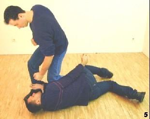 Der Gegner fällt zu Boden - Sifu Dragos kontrolliert ihn mittels Fallknie und führt abschließende Schläge aus.