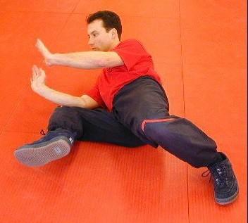Sifu Dragos schützt seinen Unterleib durch das Winkeln eines Beines. Seine Arme decken hierbei den Rumpf und werden isometrisch unter Spannung gehalten.