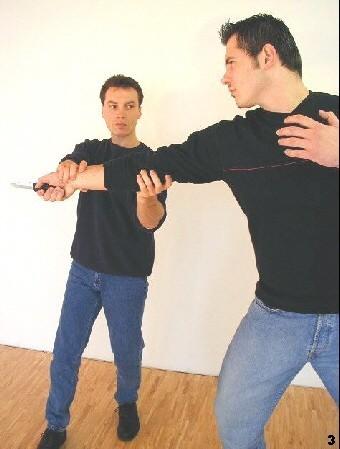 Wing Tsun-Selbstverteidigung, Abb. 3 - Sifu Dragos immobilisiert den Gegner mit einem doppelten Griff zum Arm